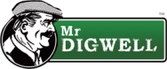 Mr Digwell gardening cartoon logo