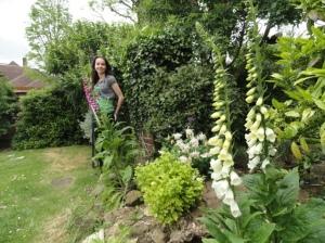 Charlotte in her garden