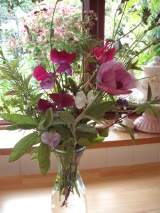 Flower arrangement from kitchen garden