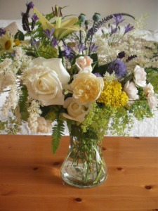 Mont Blanc Lily, Silver Wedding Rose, Alchemilla and Astilbes