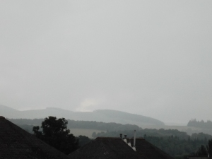 Fog starting to lift on distant hills