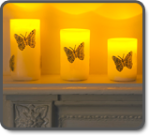 Flicker Flame LED Candles with Butterflies - Set of 3
