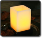White Wax Square Candle Votive with Wooden Base