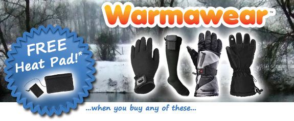 Free heat pad with selected Heated Clothing from Primrose